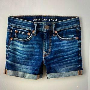American Eagle Midi Low Rise Jean Shorts